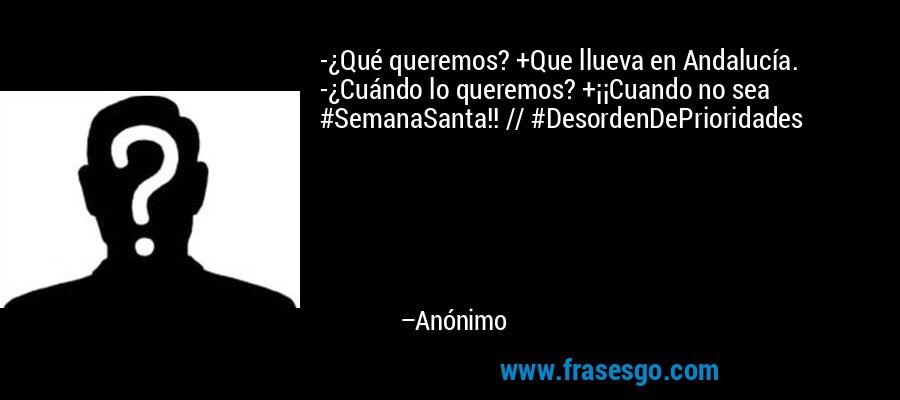 -¿Qué queremos? +Que llueva en Andalucía. -¿Cuándo lo queremos? +¡¡Cuando no sea #SemanaSanta!! // #DesordenDePrioridades – Anónimo