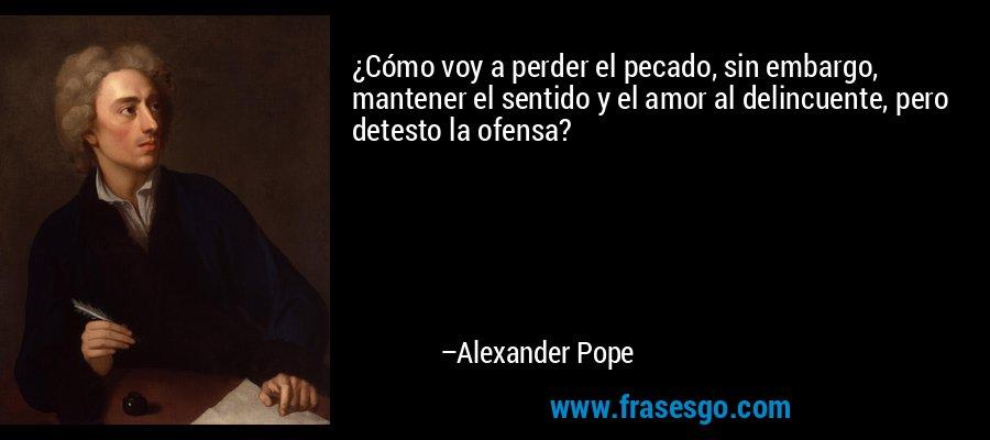 ¿Cómo voy a perder el pecado, sin embargo, mantener el sentido y el amor al delincuente, pero detesto la ofensa? – Alexander Pope