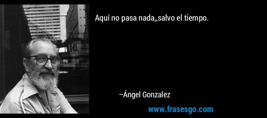 Aquí no pasa nada,,salvo el tiempo. – Ángel Gonzalez