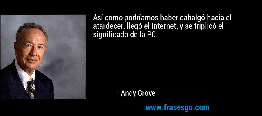 Así como podríamos haber cabalgó hacia el atardecer, llegó el Internet, y se triplicó el significado de la PC. – Andy Grove