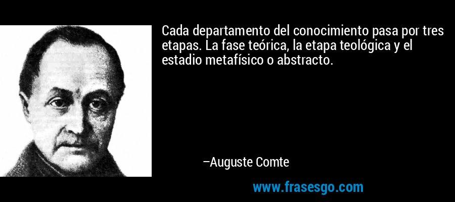 Cada departamento del conocimiento pasa por tres etapas. La fase teórica, la etapa teológica y el estadio metafísico o abstracto. – Auguste Comte