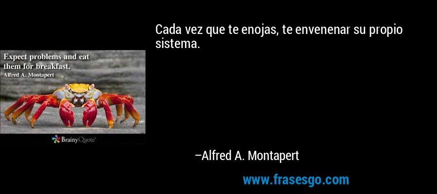 Cada vez que te enojas, te envenenar su propio sistema. – Alfred A. Montapert