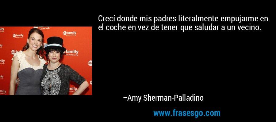 Crecí donde mis padres literalmente empujarme en el coche en vez de tener que saludar a un vecino. – Amy Sherman-Palladino