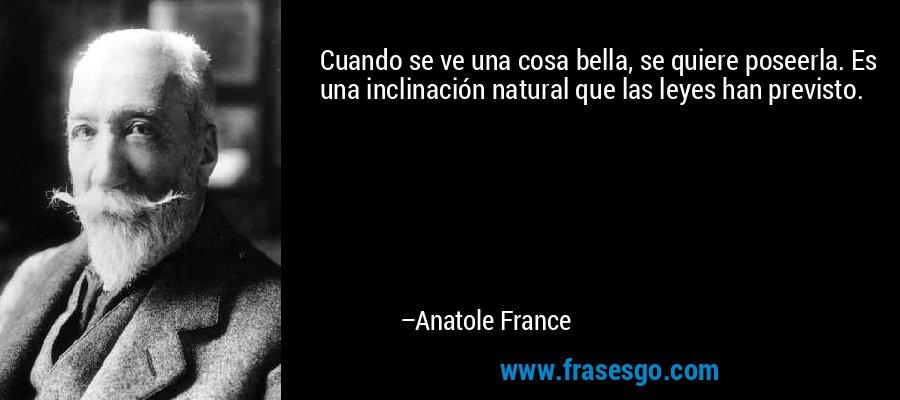 Cuando se ve una cosa bella, se quiere poseerla. Es una inclinación natural que las leyes han previsto. – Anatole France
