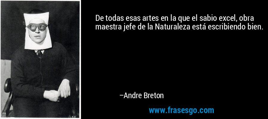 De todas esas artes en la que el sabio excel, obra maestra jefe de la Naturaleza está escribiendo bien. – Andre Breton