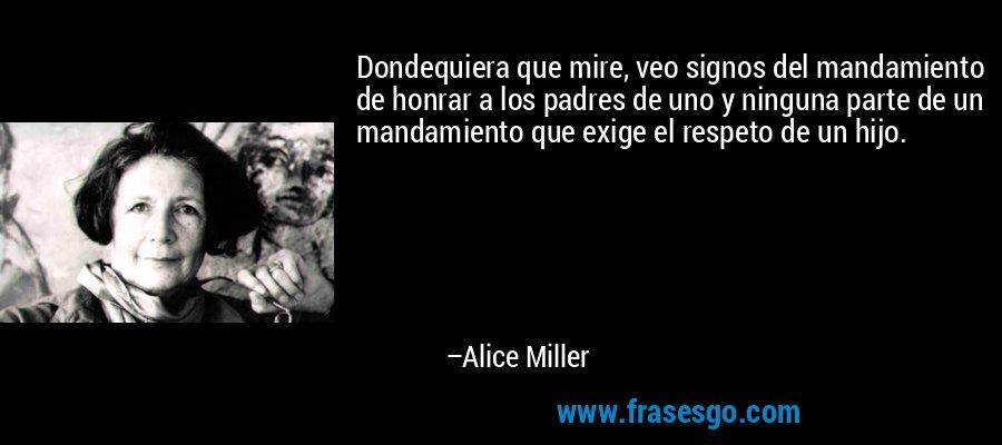Dondequiera que mire, veo signos del mandamiento de honrar a los padres de uno y ninguna parte de un mandamiento que exige el respeto de un hijo. – Alice Miller