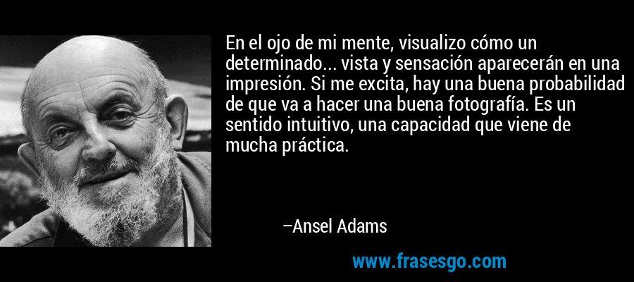 En el ojo de mi mente, visualizo cómo un determinado... vista y sensación aparecerán en una impresión. Si me excita, hay una buena probabilidad de que va a hacer una buena fotografía. Es un sentido intuitivo, una capacidad que viene de mucha práctica. – Ansel Adams