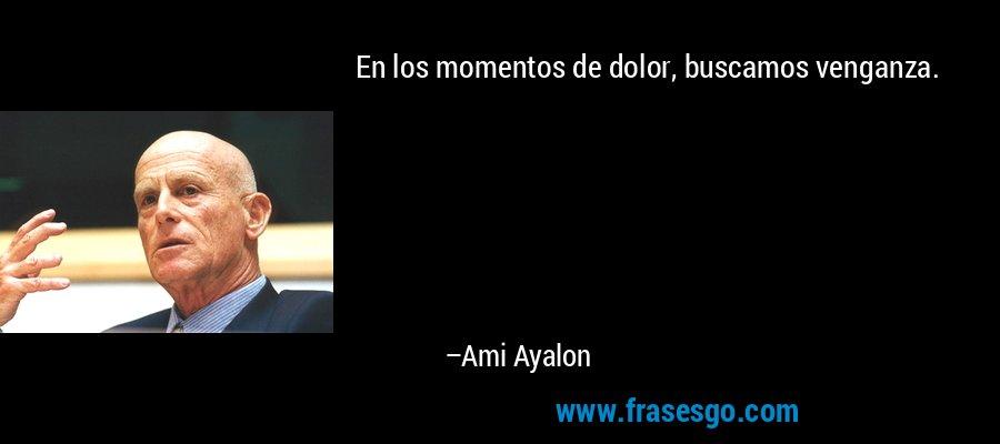 En los momentos de dolor, buscamos venganza. – Ami Ayalon