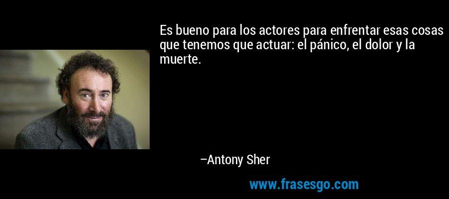 Es bueno para los actores para enfrentar esas cosas que tenemos que actuar: el pánico, el dolor y la muerte. – Antony Sher