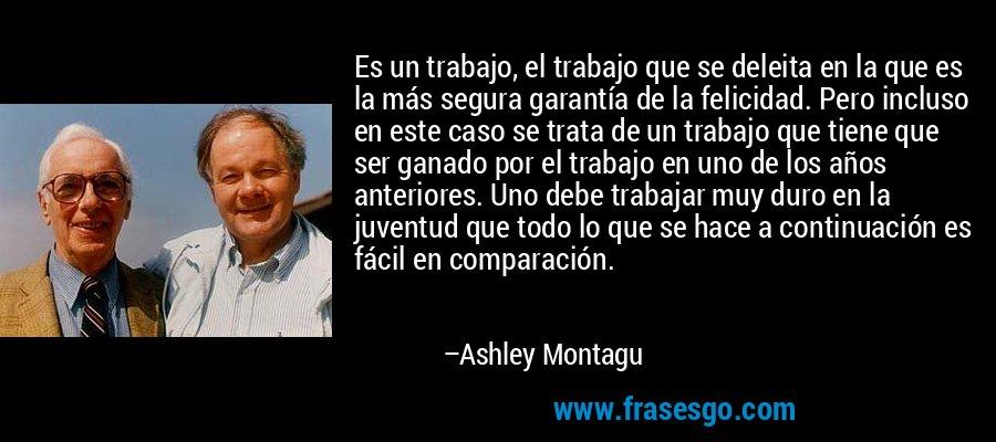 Es un trabajo, el trabajo que se deleita en la que es la más segura garantía de la felicidad. Pero incluso en este caso se trata de un trabajo que tiene que ser ganado por el trabajo en uno de los años anteriores. Uno debe trabajar muy duro en la juventud que todo lo que se hace a continuación es fácil en comparación. – Ashley Montagu