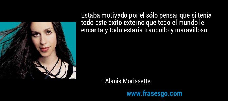 Estaba motivado por el sólo pensar que si tenía todo este éxito externo que todo el mundo le encanta y todo estaría tranquilo y maravilloso. – Alanis Morissette