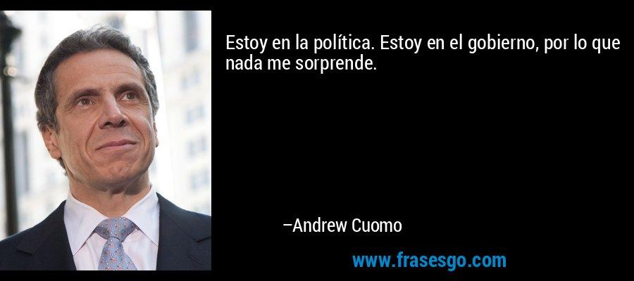 Estoy en la política. Estoy en el gobierno, por lo que nada me sorprende. – Andrew Cuomo