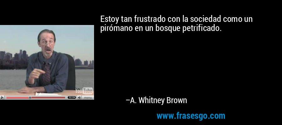 Estoy tan frustrado con la sociedad como un pirómano en un bosque petrificado. – A. Whitney Brown