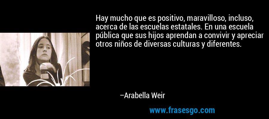 Hay mucho que es positivo, maravilloso, incluso, acerca de las escuelas estatales. En una escuela pública que sus hijos aprendan a convivir y apreciar otros niños de diversas culturas y diferentes. – Arabella Weir