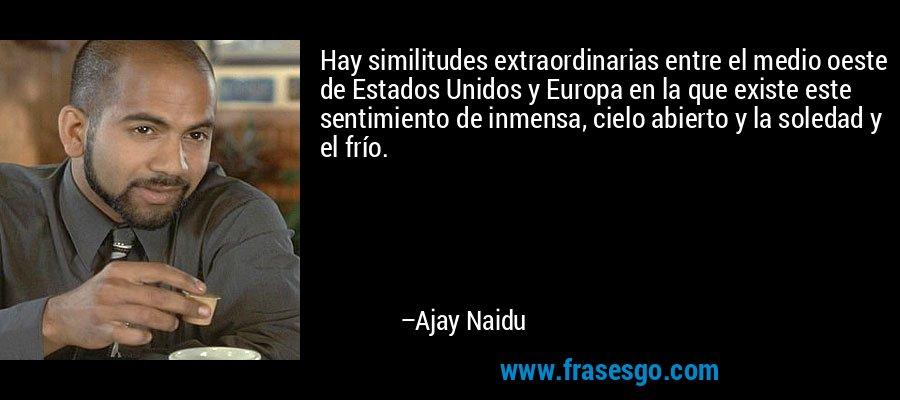 Hay similitudes extraordinarias entre el medio oeste de Estados Unidos y Europa en la que existe este sentimiento de inmensa, cielo abierto y la soledad y el frío. – Ajay Naidu