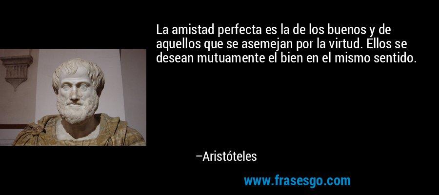 La amistad perfecta es la de los buenos y de aquellos que se asemejan por la virtud. Ellos se desean mutuamente el bien en el mismo sentido. – Aristóteles