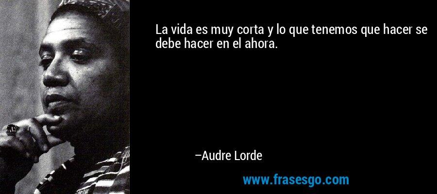 La vida es muy corta y lo que tenemos que hacer se debe hacer en el ahora. – Audre Lorde