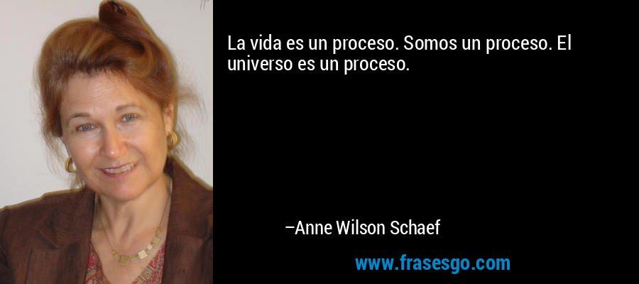 La vida es un proceso. Somos un proceso. El universo es un proceso. – Anne Wilson Schaef