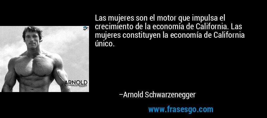 Las mujeres son el motor que impulsa el crecimiento de la economía de California. Las mujeres constituyen la economía de California único. – Arnold Schwarzenegger