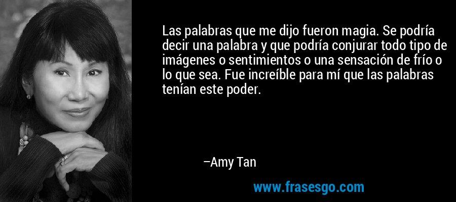 Las palabras que me dijo fueron magia. Se podría decir una palabra y que podría conjurar todo tipo de imágenes o sentimientos o una sensación de frío o lo que sea. Fue increíble para mí que las palabras tenían este poder. – Amy Tan