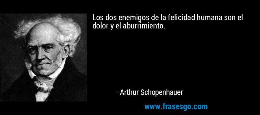 Los dos enemigos de la felicidad humana son el dolor y el aburrimiento. – Arthur Schopenhauer