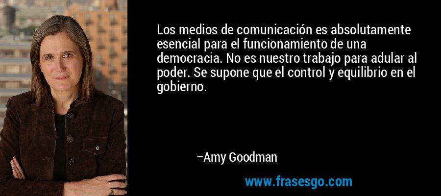 Los medios de comunicación es absolutamente esencial para el funcionamiento de una democracia. No es nuestro trabajo para adular al poder. Se supone que el control y equilibrio en el gobierno. – Amy Goodman