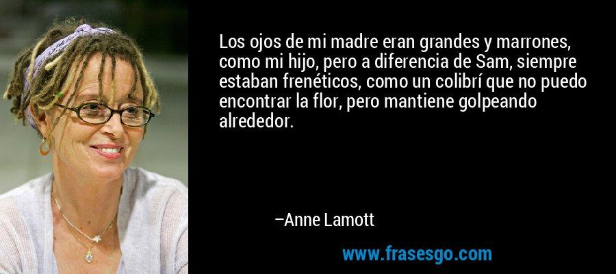 Los ojos de mi madre eran grandes y marrones, como mi hijo, pero a diferencia de Sam, siempre estaban frenéticos, como un colibrí que no puedo encontrar la flor, pero mantiene golpeando alrededor. – Anne Lamott