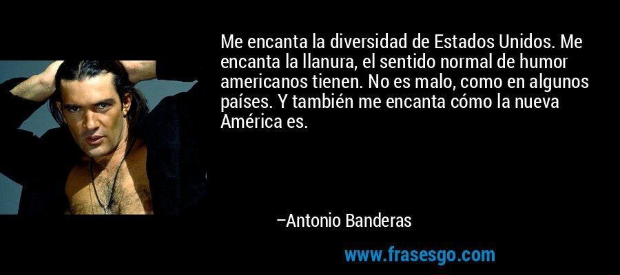 Me encanta la diversidad de Estados Unidos. Me encanta la llanura, el sentido normal de humor americanos tienen. No es malo, como en algunos países. Y también me encanta cómo la nueva América es. – Antonio Banderas