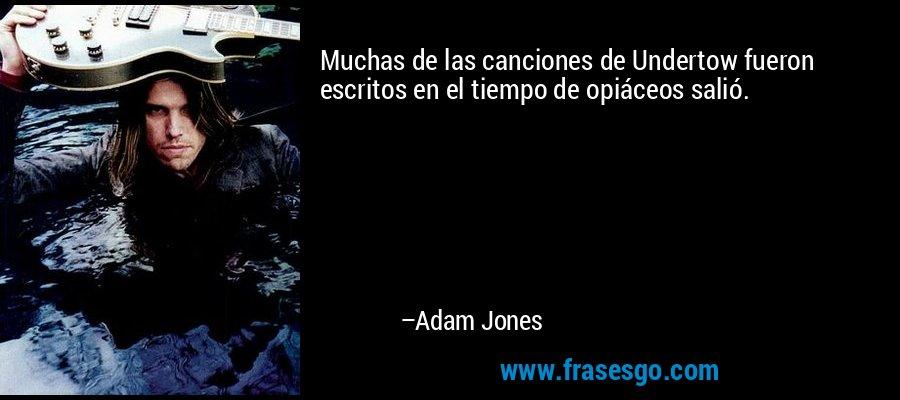 Muchas de las canciones de Undertow fueron escritos en el tiempo de opiáceos salió. – Adam Jones