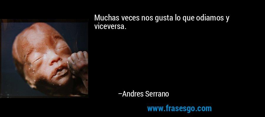Muchas veces nos gusta lo que odiamos y viceversa. – Andres Serrano
