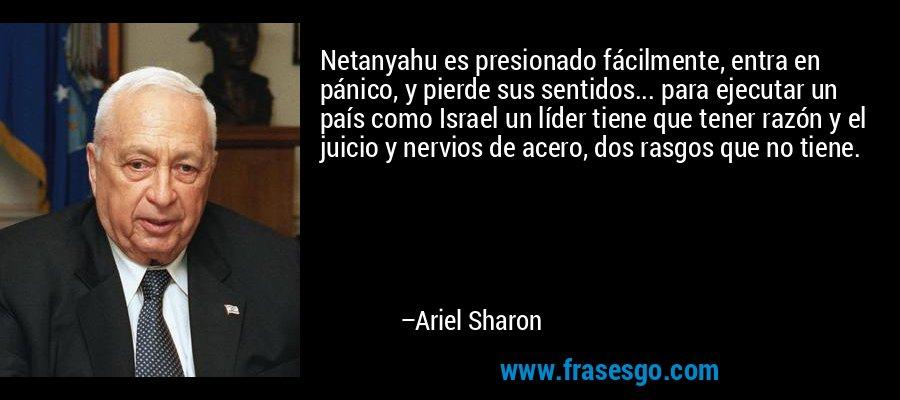Netanyahu es presionado fácilmente, entra en pánico, y pierde sus sentidos... para ejecutar un país como Israel un líder tiene que tener razón y el juicio y nervios de acero, dos rasgos que no tiene. – Ariel Sharon