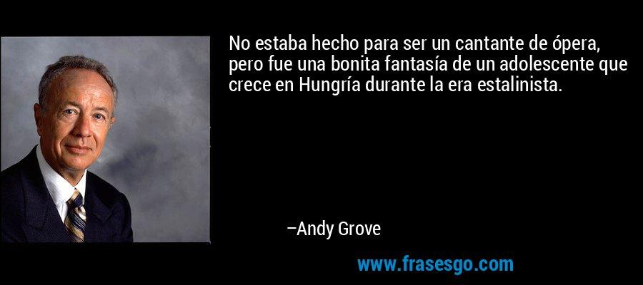 No estaba hecho para ser un cantante de ópera, pero fue una bonita fantasía de un adolescente que crece en Hungría durante la era estalinista. – Andy Grove