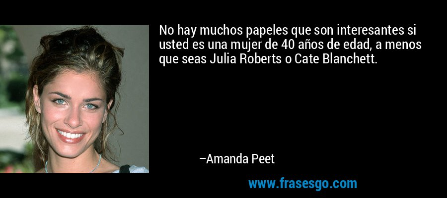 No hay muchos papeles que son interesantes si usted es una mujer de 40 años de edad, a menos que seas Julia Roberts o Cate Blanchett. – Amanda Peet