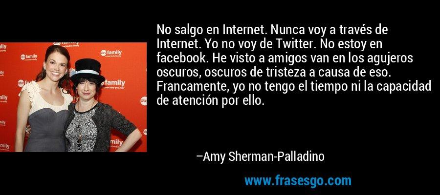 No salgo en Internet. Nunca voy a través de Internet. Yo no voy de Twitter. No estoy en facebook. He visto a amigos van en los agujeros oscuros, oscuros de tristeza a causa de eso. Francamente, yo no tengo el tiempo ni la capacidad de atención por ello. – Amy Sherman-Palladino