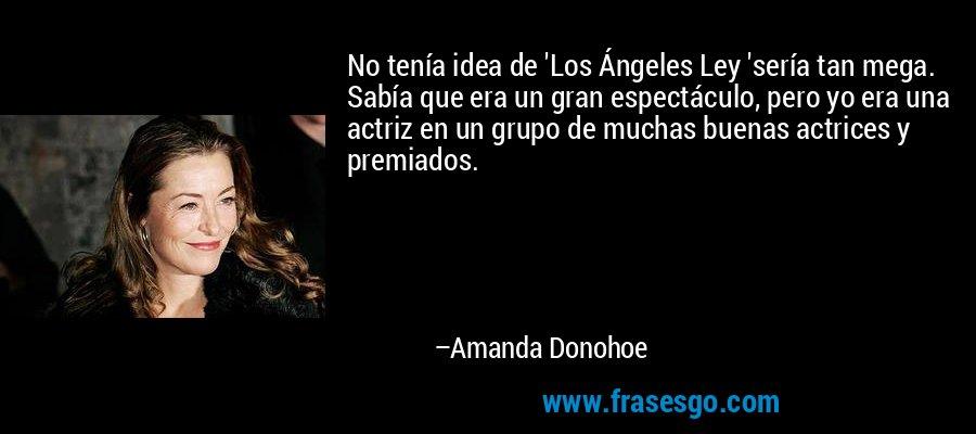 No tenía idea de 'Los Ángeles Ley 'sería tan mega. Sabía que era un gran espectáculo, pero yo era una actriz en un grupo de muchas buenas actrices y premiados. – Amanda Donohoe