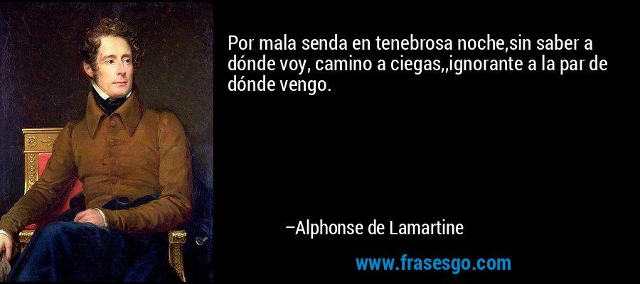 Por mala senda en tenebrosa noche,sin saber a dónde voy, camino a ciegas,,ignorante a la par de dónde vengo. – Alphonse de Lamartine