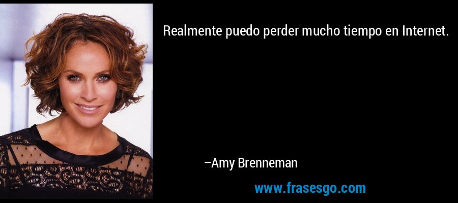 Realmente puedo perder mucho tiempo en Internet. – Amy Brenneman