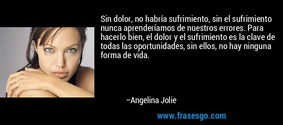 Sin dolor, no habría sufrimiento, sin el sufrimiento nunca aprenderíamos de nuestros errores. Para hacerlo bien, el dolor y el sufrimiento es la clave de todas las oportunidades, sin ellos, no hay ninguna forma de vida. – Angelina Jolie