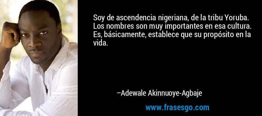Soy de ascendencia nigeriana, de la tribu Yoruba. Los nombres son muy importantes en esa cultura. Es, básicamente, establece que su propósito en la vida. – Adewale Akinnuoye-Agbaje