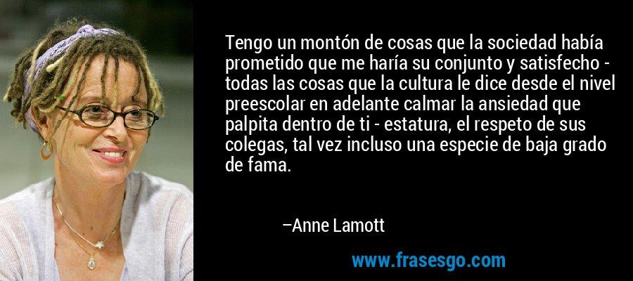 Tengo un montón de cosas que la sociedad había prometido que me haría su conjunto y satisfecho - todas las cosas que la cultura le dice desde el nivel preescolar en adelante calmar la ansiedad que palpita dentro de ti - estatura, el respeto de sus colegas, tal vez incluso una especie de baja grado de fama. – Anne Lamott