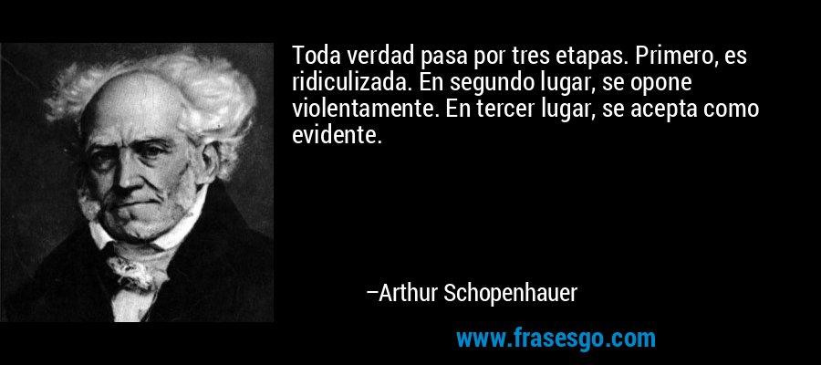 Toda verdad pasa por tres etapas. Primero, es ridiculizada. En segundo lugar, se opone violentamente. En tercer lugar, se acepta como evidente. – Arthur Schopenhauer