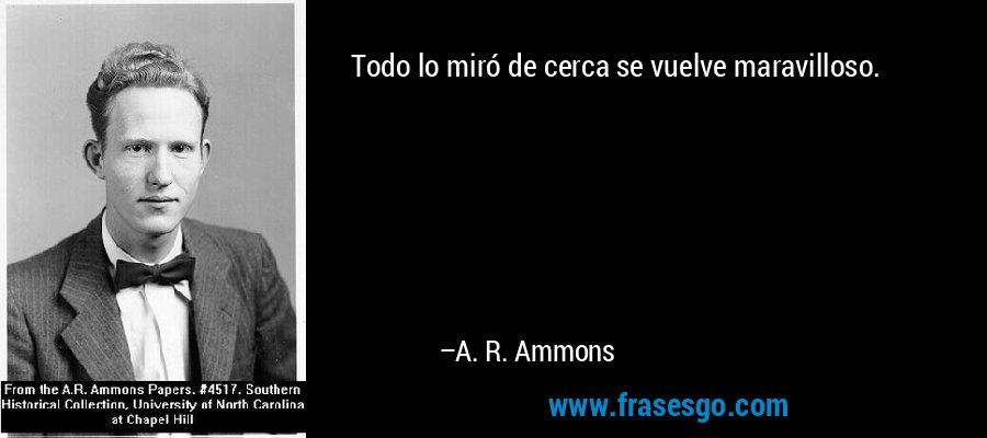 Todo lo miró de cerca se vuelve maravilloso. – A. R. Ammons