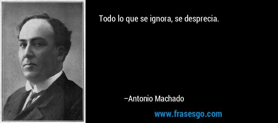 Todo lo que se ignora, se desprecia. – Antonio Machado