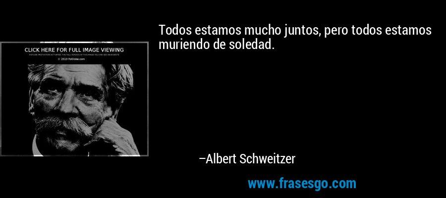 Todos estamos mucho juntos, pero todos estamos muriendo de soledad. – Albert Schweitzer