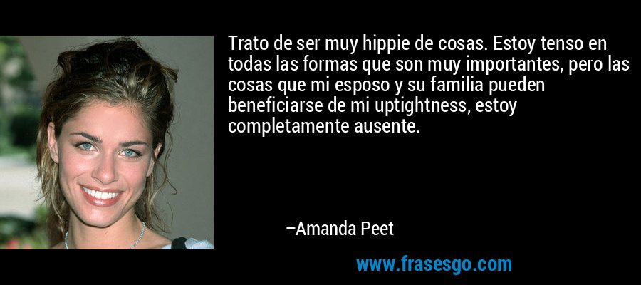 Trato de ser muy hippie de cosas. Estoy tenso en todas las formas que son muy importantes, pero las cosas que mi esposo y su familia pueden beneficiarse de mi uptightness, estoy completamente ausente. – Amanda Peet