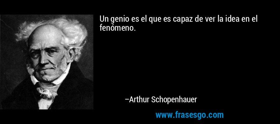 Un genio es el que es capaz de ver la idea en el fenómeno. – Arthur Schopenhauer