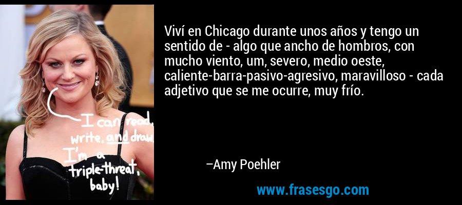 Viví en Chicago durante unos años y tengo un sentido de - algo que ancho de hombros, con mucho viento, um, severo, medio oeste, caliente-barra-pasivo-agresivo, maravilloso - cada adjetivo que se me ocurre, muy frío. – Amy Poehler