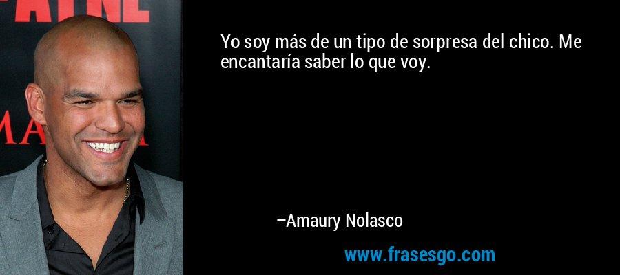 Yo soy más de un tipo de sorpresa del chico. Me encantaría saber lo que voy. – Amaury Nolasco