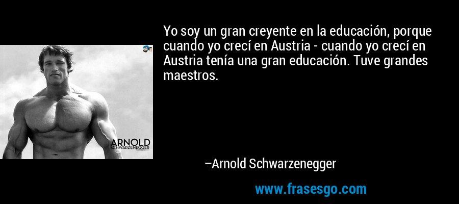 Yo soy un gran creyente en la educación, porque cuando yo crecí en Austria - cuando yo crecí en Austria tenía una gran educación. Tuve grandes maestros. – Arnold Schwarzenegger