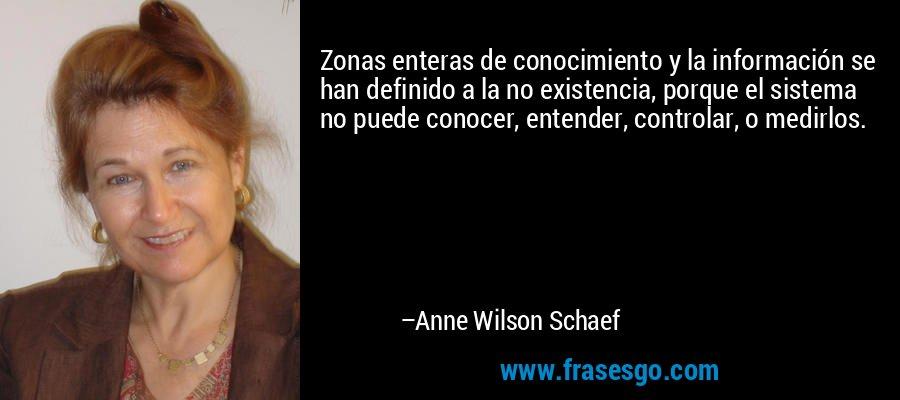 Zonas enteras de conocimiento y la información se han definido a la no existencia, porque el sistema no puede conocer, entender, controlar, o medirlos. – Anne Wilson Schaef